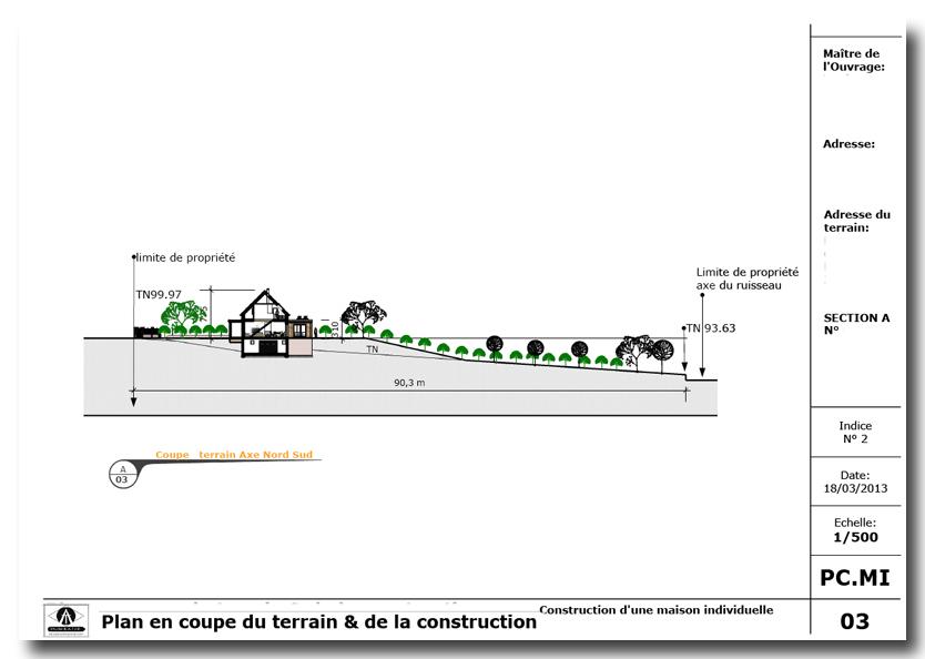 Etude batir dessinateur permis de construire - Un plan en coupe du terrain et de la construction ...